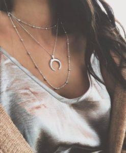 collar cuerno plateado mujer