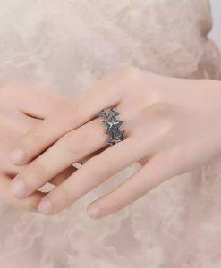 anillo estrellas plata