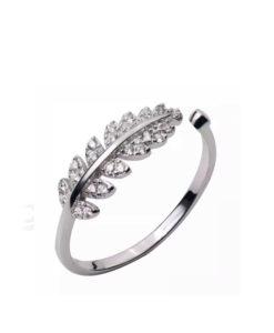 anillo hoja plata mujer