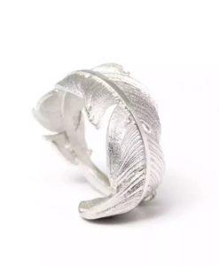 anillo pluma plata original