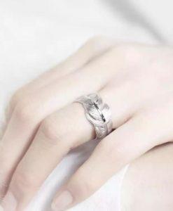 anillo pluma plata regalo