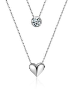collar corazon plata original