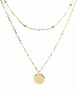 collar dos cadenas medalla chapado en oro