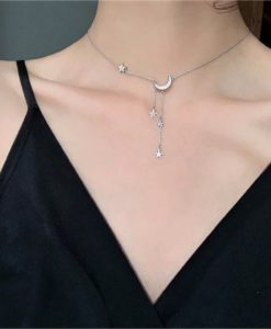 collar luna plata original mujer