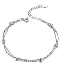 pulsera cadena bolitas plata