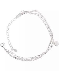 pulsera plata dos cadenas